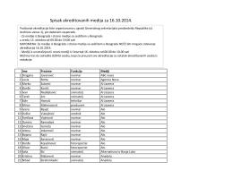 Spisak akreditovanih medija za 16.10.2014.
