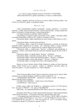 Zapisnik sa 13. redovne sednice skupštine akcionara 2012. godine