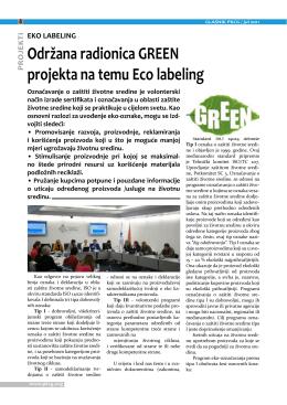 EKO LABELING Održana radionica GREEN projekta na temu Eco