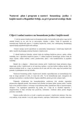 Nastavni plan i program Bosanski jezik i književnost za 1. razred