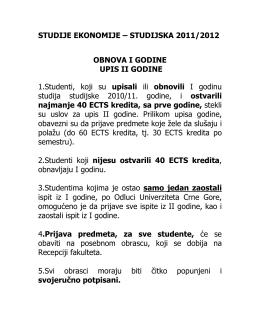 STUDIJSKA 2011/2012 OBNOVA I GODINE UPIS II GODINE 1