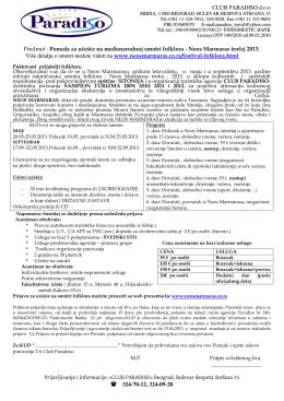 CLUB PARADISO d.o.o Predmet : Ponuda za