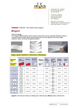 Predmet: PONUDA – DLP sistemi fireme Legrand TABELA BAZE