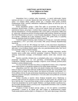 LIJEČENJE AKUPUNKTUROM Mr.sci. Miljković dr Siniša
