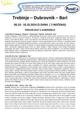 Trebinje Dubrovnik Bari