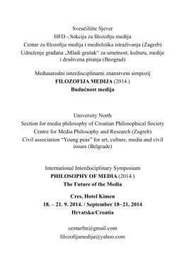 Sekcija za filozofiju medija Centar za filozofiju medija i mediološka