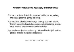 Oksido-redukcione reakcije, elektrohemija Procesi u kojima dolazi