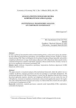 ANALIZA INSTITUCIONALNIH OKVIRA KORPORATIVNOG