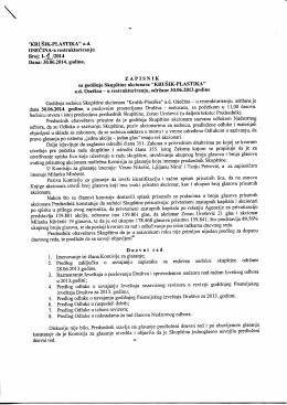 """""""KRUSIK-PLASTIKA"""" a.d. OSECINA-u restrukturiranju Broj: I"""