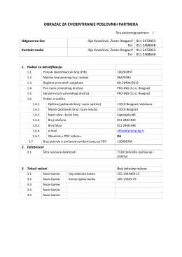 obrazac za evidentiranje poslovnih partnera - PRO