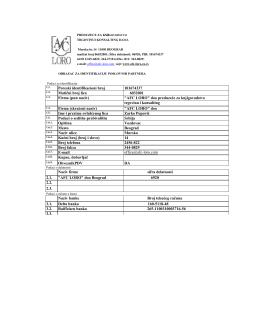 Poreski identifikacioni broj 101674337 Matični broj lica