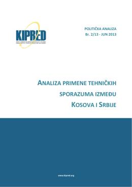 analiza primene tehničkih sporazuma izmeðu kosova i srbije