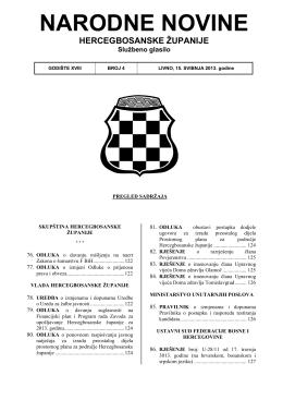 NARODNE NOVINE - Vlada Hercegbosanske županije