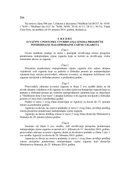 "214. Na osnovu ĉlana 50b stav 3 Zakona o akcizama (""Sluţbeni list"