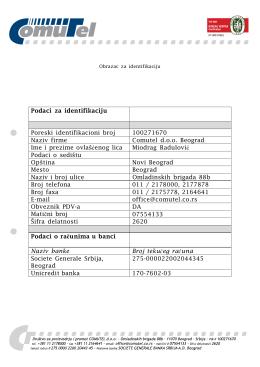 Podaci za identifikaciju Poreski identifikacioni broj