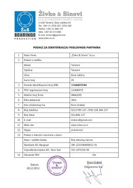 Podaci za identifikaciju firme