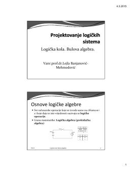 Osnove logičke algebre - Vanr.prof.dr. Lejla Banjanović