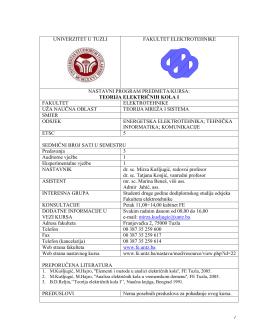 UNIVERZITET U TUZLI - Fakultet elektrotehnike
