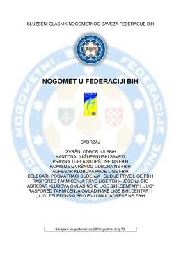 Bilten/adresar Prve lige FBiH i Omladinske lige BiH