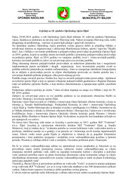 Izvještaj sa XVIII sjednice Općinskog vijeća Ilijaš