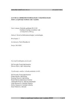 Godišnji izvještaj 2012 - Hidrometeoroloski zavod Crne Gore