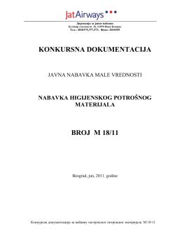 KONKURSNA DOKUMENTACIJA BROJ M 18/11