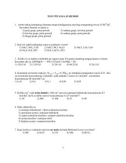 Тест питања из хемије 2013. година