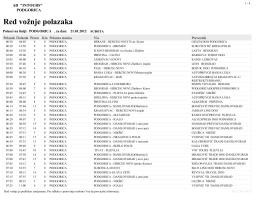 Red vožnje polazaka - Autobuska stanica Podgorica