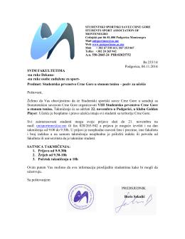 Br.235/14 Podgorica, 04.11.2014 SVIM FAKULTETIMA