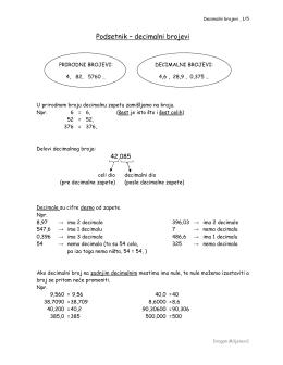 Podsetnik – decimalni brojevi