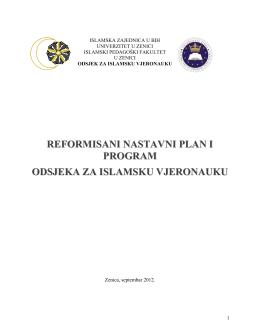reformisani nastavni plan i program odsjeka za islamsku vjeronauku