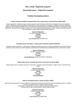 SDC u Srbiji - Regionalni programi Ekonomski razvoj – Regionalni