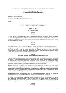 Zakon Br. 04/L-109 o Elektronskim Komunikacijama