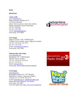 Radio BEOGRAD Antena radio www.radioantena