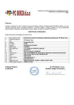 """""""PC Berza"""" doo 12.08.2010. direktor: Željko Arnautović"""