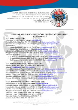 adresar ssfs – preuzmi pdf - Savez srpskog folklora Švajcarske
