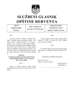Službeni glasnik opštine Derventa, broj : 9/12
