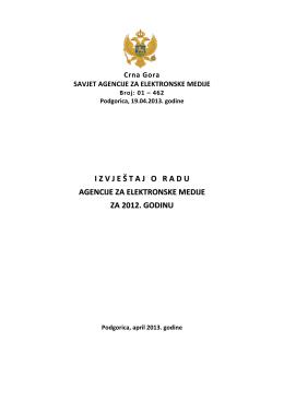 Izvještaj o radu za AEM za 2012