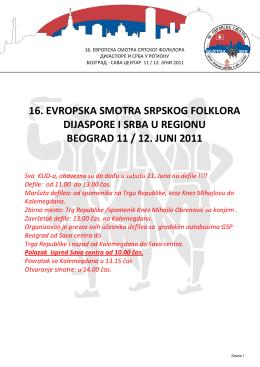 16. evropska smotra srpskog folklora dijaspore i srba u regionu
