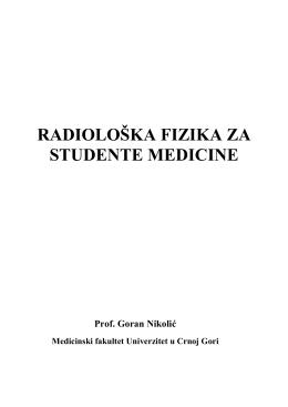 RADIOLOŠKA FIZIKA ZA STUDENTE MEDICINE