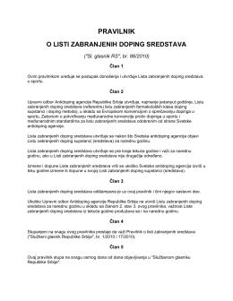 Pravilnik o listi zabranjenih doping sredstava