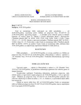 U-497/10 Sarajevo, 19.05.2010.godine Ured za razmatranje žalbi
