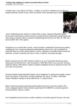 U Ristića Gaju obilježena 21 godina od početka bitke za koridor