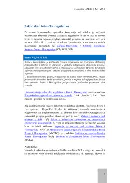 Zakonska i tehnička regulativa BiH