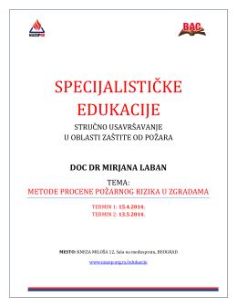 НУЗОП РС, ПРОГРАМ специјалистичке едукације, doc dr