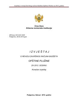 Izvještaj o reviziji Završnog računa Budžeta Opštine Plužine za 2012