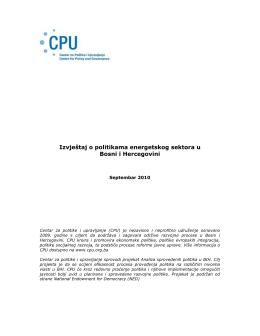 Izvještaj o politikama energetskog sektora u Bosni i Hercegovini