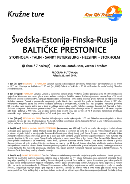 Švedska-Estonija-Finska-Rusija BALTIČKE PRESTONICE