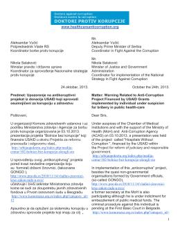 Upozorenje na antikoruptivni projekat iz donacija USAID