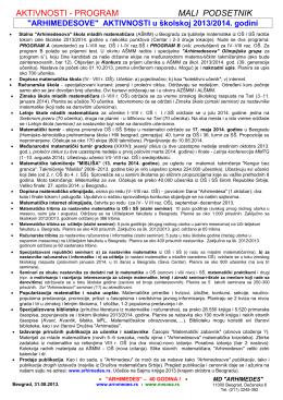 AKTIVNOSTI u školskoj 2013/2014. godini